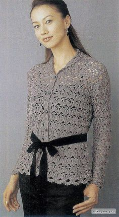 Crochet patterns: 2 Crochet Charts for Spring Cardigans - a little baggier and 6 inches longer, I think. Love the neckline Crochet Coat, Crochet Cardigan Pattern, Knitted Coat, Crochet Jacket, Crochet Blouse, Crochet Clothes, Crochet Patterns, Crochet Sweaters, Lace Jacket