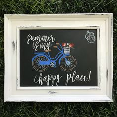 """Chalk Couture """"Enjoy the Ride"""" & """"Summer is my Happy Place"""" Transfers on the Aiden chalkboard Chalk Talk, Chalk It Up, Chalk Board, Chalkboard Art Quotes, Chalkboard Ideas, Wooden Crafts, Diy Crafts, Summer Chalkboard, Chalk Ideas"""
