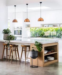 "3,809 Likes, 27 Comments - Interior design inspiration ☝ (@interior.hunter) on Instagram: ""kitchen goals polished concrete, timber, marble and copper details.. and those potted plants…"""