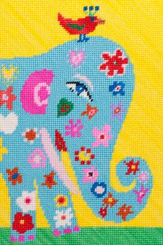 Blue Elephant by Birds of a Feather #Needlepoint #Blue_Elephant #Birds_of_a_Feather #purlbee