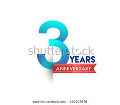 three years anniversary celebration logotype blue colored with red ribbon. 3rd birthday logo on white background