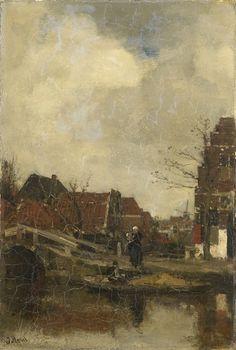 The Athenaeum - Oud buurtje aan het water (1883) (Jacob Henricus Maris - )