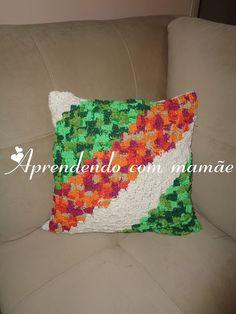 almofada, crochê diagonal, barbante EuroRoma, feito por mim, decoração, sofá, blog, artesanato