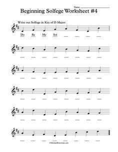 Beginning Solfege Worksheet # 4 For Classroom Instructions