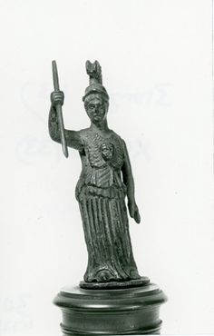 Bronze figure of Athena Promachos with spear.