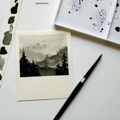 Watercolor landscape Using different shades of black Watercolor Painting Techniques, Watercolor Video, Watercolour Tutorials, Abstract Watercolor, Watercolor Illustration, Watercolor Flowers, Watercolor Paintings, Simple Watercolor, Watercolor Animals
