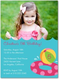 If only I had an underwater shot of the birthday girl for this pool party invitation!