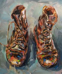 The brush strokes are so determined and strong.  They reflect the thick, old, hard leather of the shoes and the life those shoes have led.