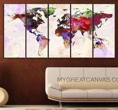 Large Wall Art Canvas Print Colorful Watercolor World Map - Paint Splash World Map Framed Giclee Map Canvas - Ready to Hang