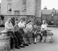 (L-R) The Duke of Edinburgh,  Prince Andrew, Prince Charles, the Queen, Prince Edward and ...