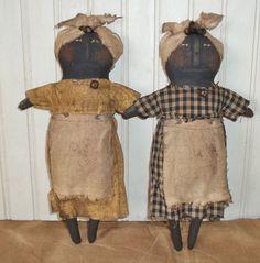 Primitive Grungy Set of Two Little Black Mammy Dolls #NaivePrimitive