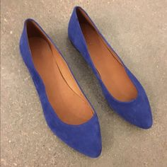 Blue suede Madewell flats Only worn once, in great condition! Madewell Shoes Flats & Loafers