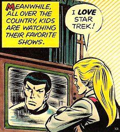 Haha this is me when Spock comes on too Star Trek Tv, Star Wars, Star Trek Spock, Stephen Hawking, Comic Book Panels, Leonard Nimoy, Across The Universe, Love Stars, Vintage Comics