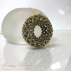 Beading tutorial and pattern, Infinity Lace Pendant Beading tutorial,Flat Chenille pendant beading pattern, puffy chartreuse pendant