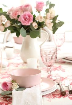 I had one last go at setting a rosy pink tablescape, inspired by this rose covered chitz fabric that I've been holding on to, for its sweet romantic vibe. Rosy Pink, Blush Pink, Pink Plates, Country Sampler, Spring Home Decor, Valentines Day Party, Party Entertainment, Valentine Decorations, Fun Projects