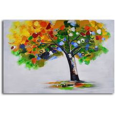 My Art Outlet 'Bejeweled Papered Tree' Original Painting on Wrapped Canvas