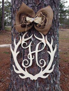 Deer Antler Monogram door hanger,Antler door hanger,Monogram Hunting door hanger, personalized door hanger,Cabin door hanger by Furnitureflipalabama on Etsy Crafts To Make, Diy Crafts, Diy Wreath, Wreaths, Wooden Door Hangers, Wood Cutouts, Front Door Decor, The Ranch, Wood Crafts