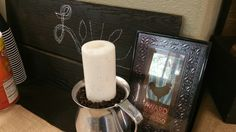 Mens Camp Ideas Coffee Beans and candles are a fun way to decorate