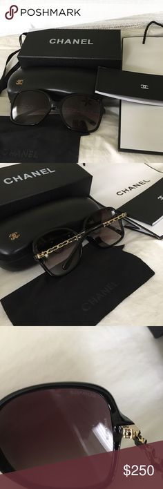 Chanel chain link sunglasses Chanel chain link sunglasses. In excellent condition worn only twice. **sunglasses has a hairpin scratch on the bottom right lends. Does not affect vision. Unable to capture in photos. CHANEL Accessories Sunglasses