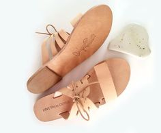 Kamares leather slides in nude leather with lace up detail, Greek Sandals