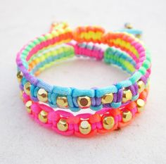 SET OF TWO Rainbow friendship bracelets neon macrame by pieceofart, $36.00