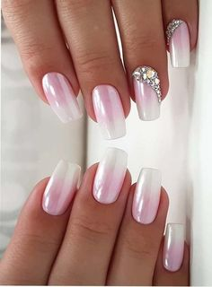 Pink is one of the colors that is most liked by young females nowadays. Whether it is hair colors or nail designs, pink colors is one of the best choice for ladies since last many years. You may visit here and see how beautiful ideas of pink nails we have Classy Nails, Stylish Nails, Cute Nails, Pretty Nails, My Nails, White Nail Designs, Best Nail Art Designs, Nail Polish Designs, Acrylic Nail Designs