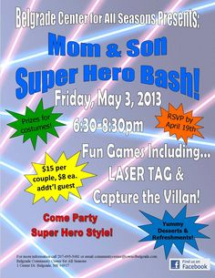Mom and Son Super Hero Bash  May 3 Daddy Daughter Dance, Mommy And Son, Father Daughter Dance, Mom Son, Father And Son, Mothers Day 2018, Family Fun Night, School Fundraisers, School Events