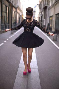 lace. skirt. hot pink heels