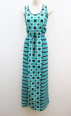 Michael Kors Island Blue Black Chain Neck Belted Long Maxi Casual ...