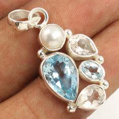 Natural BLUE TOPAZ & Other Gemstones 925 Solid Sterling Silver Stunning Pendant #Unbranded #Pendant
