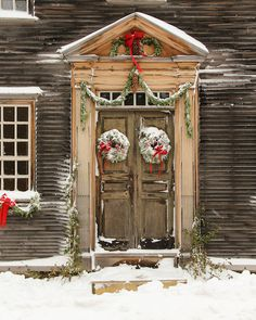 Christmas Holiday Door Colonial Historical Door Wood Door Red Ribbon Wreath Snow Green Swags New Eng