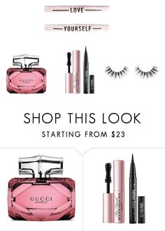 """""""love yourself"""" by getdressedwithme on Polyvore featuring uroda, Gucci, Too Faced Cosmetics i Velour Lashes"""