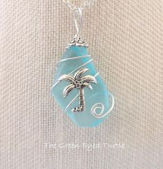 Wire Wrapped Teal Sea Glass Necklace with by TheGreenEyedTurtle, $20.00