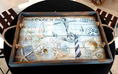 ece aymer Decoupage Furniture, Decoupage Paper, Decoupage Tutorial, Painted Trays, Rustic Wood Signs, Create And Craft, Wood Letters, Tray Decor, Diy Table