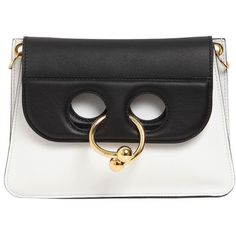 J.w.anderson Women Mini Pierce Leather Shoulder Bag (87.180 RUB) ❤ liked on Polyvore featuring bags, handbags, shoulder bags, real leather handbags, real leather purses, leather shoulder bag, 100 leather handbags and miniature purse