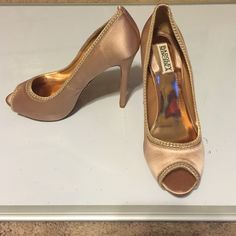 "🎉HP 4/7/16🎉Badgley Mischka Taupe heels size 10❤️ New with box and dust bag, size 10. Authentic ""Lottie II"" satin taupe heels. 5 inch heels ❤️ Badgley Mischka Shoes Heels"