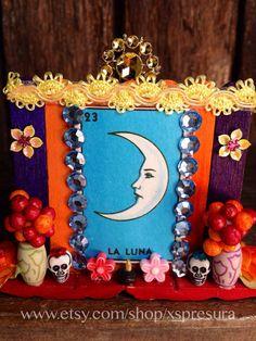 Day-of-the-Dead-Loteria-Nicho / La Luna Wooden Shrine / Dia de los Muertos Folk Art Altar / The Moon Handmade Retablo on Etsy, $13.00