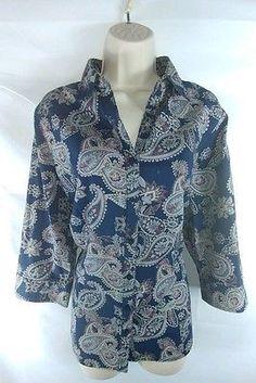 Croft & Barrow NEW Multi-Color Paisley 3/4 Sleeve Button Down Shirt Ladies XL
