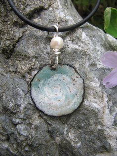 Enamel Pendant, Enamel Copper Jewelry, Calm before the Storm. $23.00, via Etsy.