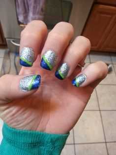 My nails for the 12-15-13 Seahawk game!!! GO HAWKS!!! Win
