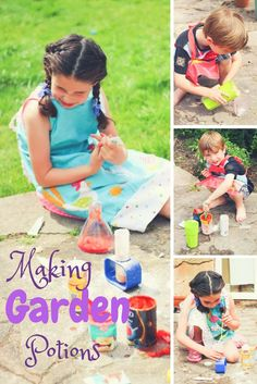 This Little Big Life: Making Garden Potions. Kid's science experiments. Easy science activities for children. Potion making for children. Easy ideas to use up your out of date kitchen cupboard stock!