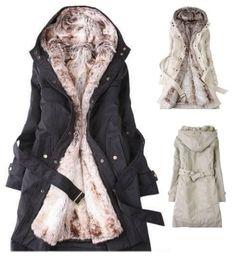 Women's Detachable Faux Fur Winter Coat.