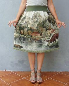 Deer and Elks Skirt Fairy tale Vintage Clothing Woodland Bambi Gobelin Tapestry Fabric Clothing US size 8 / 10 EU size 38 / 40