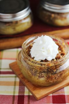 This Apple Crumble recipe is an easy apple dessert that is baked and served in mason jars. Top with caramel sauce and a scoop of vanilla ice cream.