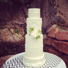 Elegant and tall wedding cake for Louland Falls in Parleys Canyon.