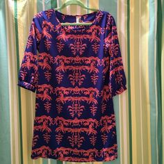 🎉🎉Francesca's Dress 🎀Adorable Blue & Orange patterned dress...three quarter length sleeves. Worn only one time to a sorority function.🎉🎉 Dresses