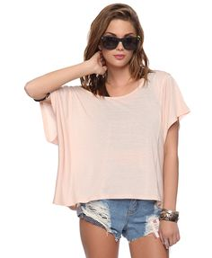 $10.80 Boxy Panel Top, peach, Big (REALLY BIG), slouchy, cropped, see-through short sleeve shirt (could wear bustier or tank under this) | FOREVER21 - 2000037360