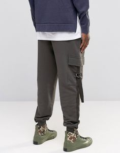 Image 2 of ASOS Tapered Joggers With Cargo Pockets And Taping