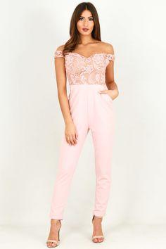 Crochet Sweetheart Neckline Jumpsuit In Pink