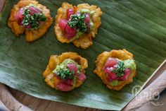 Ahi Tartar Tostones with Avocado and Grapefruit Mojo. Event Catering. Hyatt Regency Austin. Photo by Brio Photography.